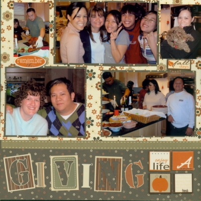 Scrapbooking Page Idea Giving Thanks 2005