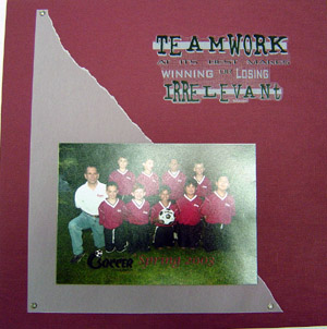 Soccer Scrapbook Page Layout